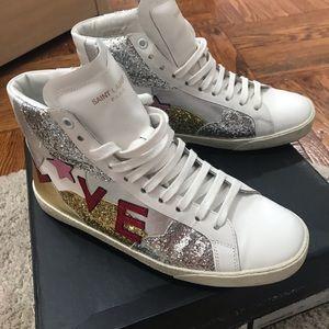 Saint Laurent classic court glitter Love sneakers